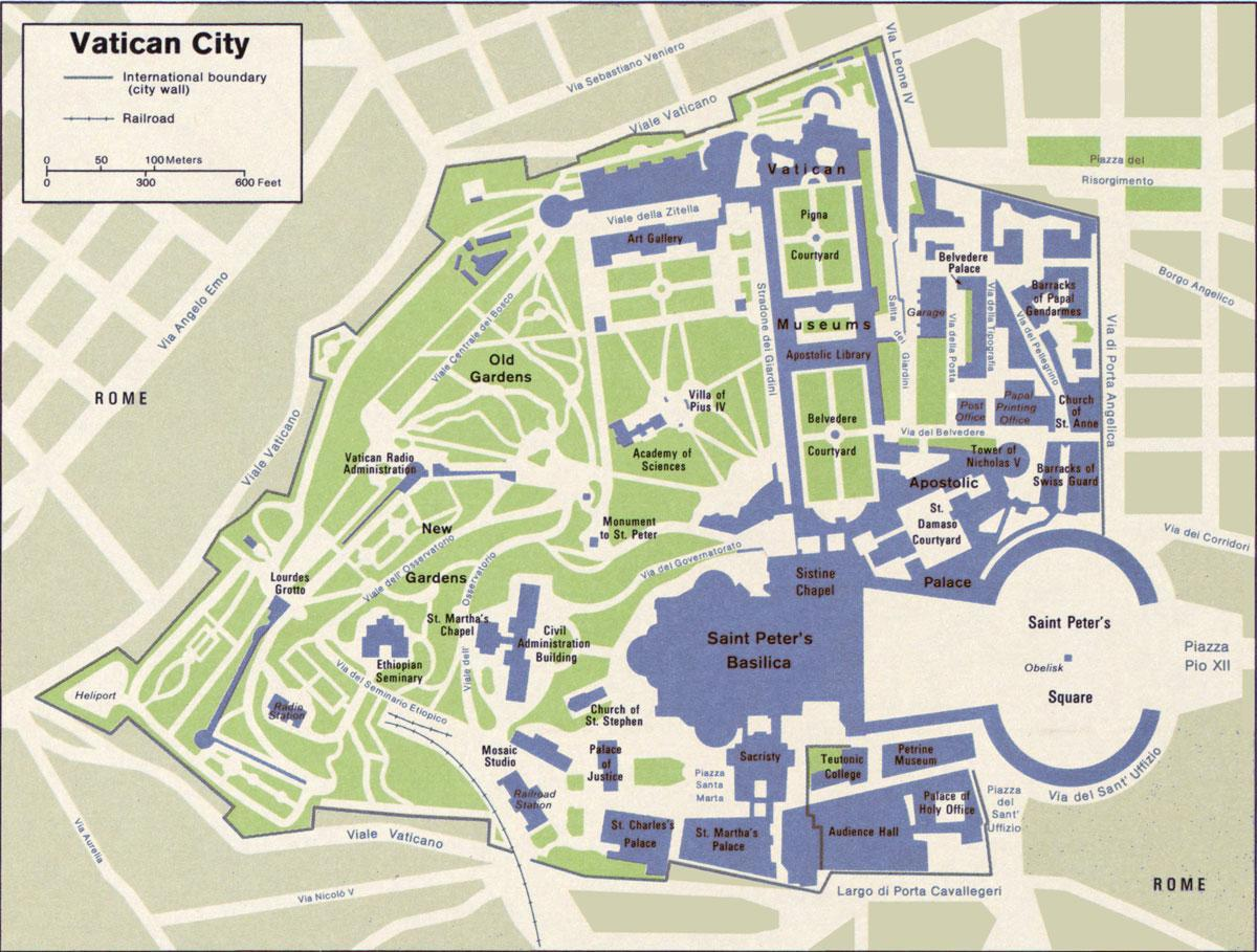map of Vatican city and surrounding area