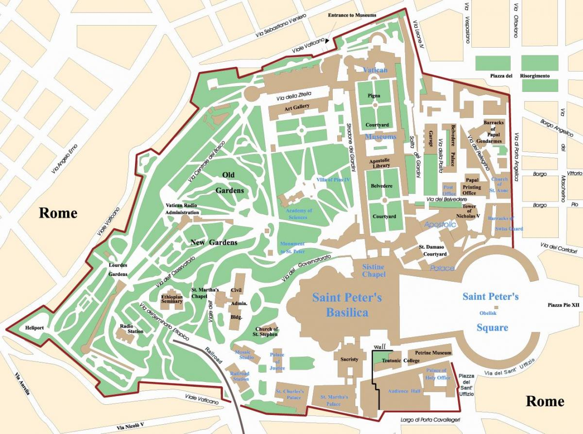 Map of Vatican on